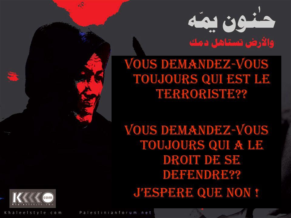 VOUS DEMANDEZ-VOUS TOUJOURS QUI EST LE TERRORISTE?? VOUS DEMANDEZ-VOUS TOUJOURS QUI A Le DROIT DE SE DEFENDRE?? JESPERE QUE NON !