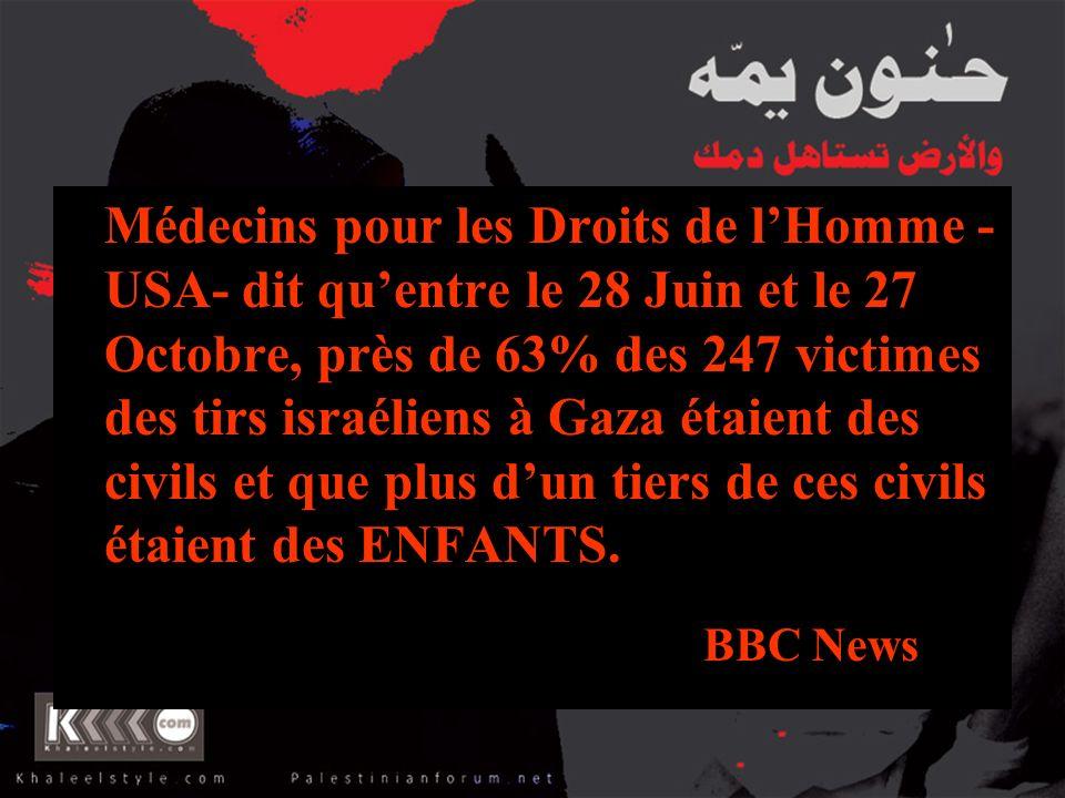 Médecins pour les Droits de lHomme - USA- dit quentre le 28 Juin et le 27 Octobre, près de 63% des 247 victimes des tirs israéliens à Gaza étaient des