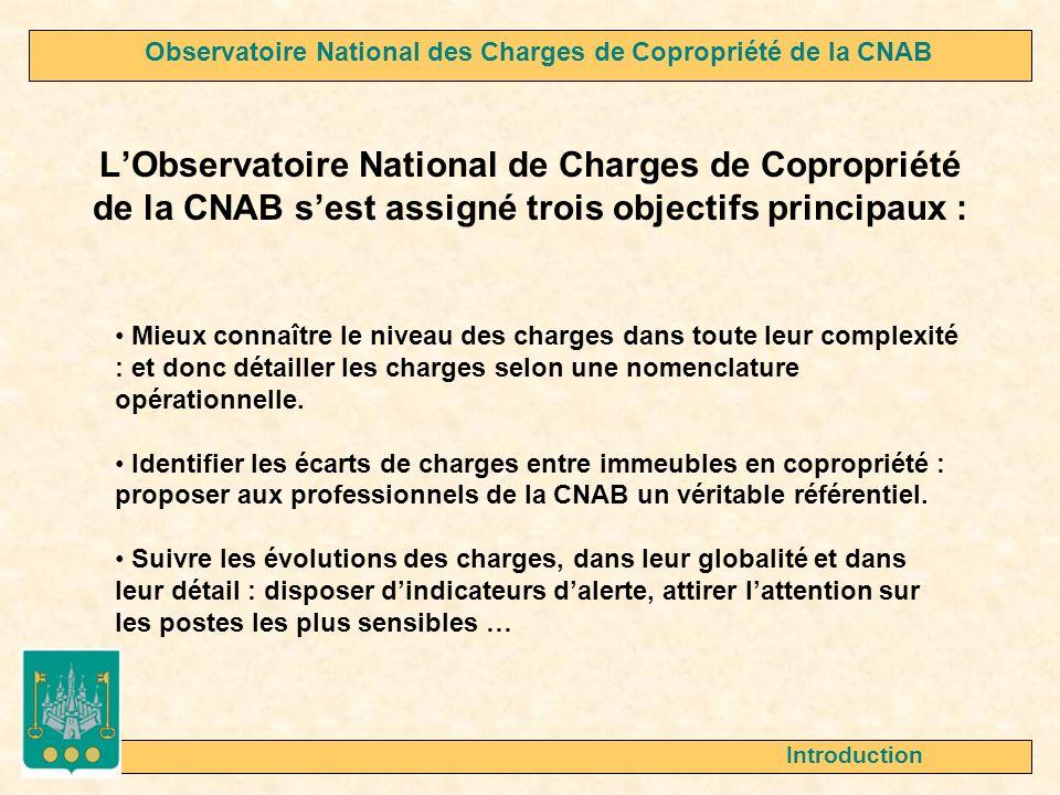 LObservatoire National de Charges de Copropriété de la CNAB sest assigné trois objectifs principaux : Introduction Mieux connaître le niveau des charges dans toute leur complexité : et donc détailler les charges selon une nomenclature opérationnelle.