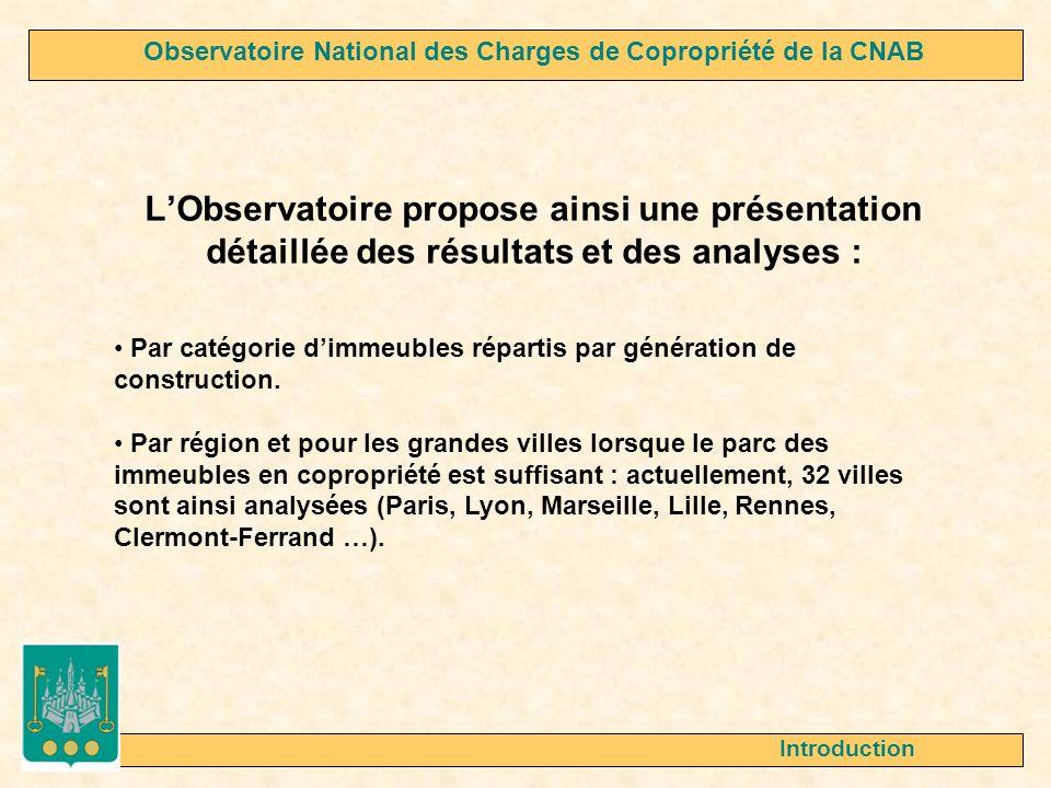 LObservatoire propose ainsi une présentation détaillée des résultats et des analyses : Introduction Par catégorie dimmeubles répartis par génération d