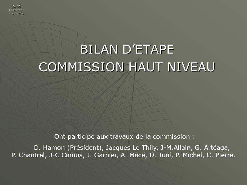 O.M.S commission haut niveau BILAN DETAPE COMMISSION HAUT NIVEAU Ont participé aux travaux de la commission : D.