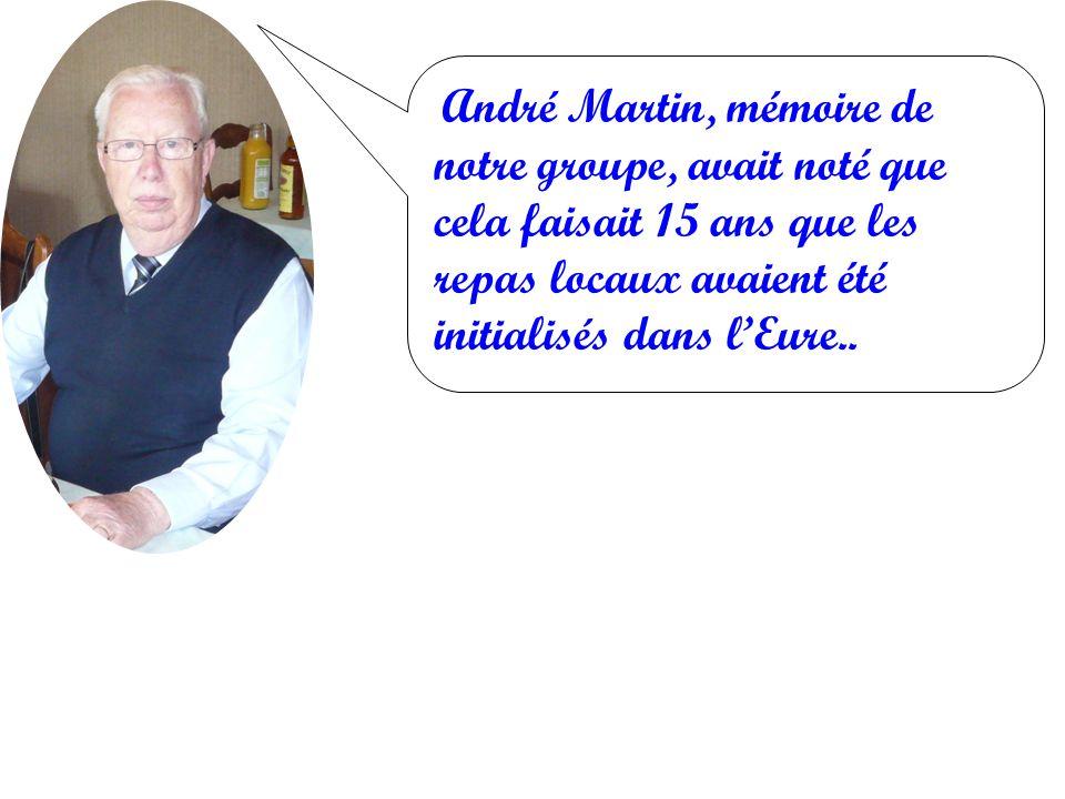 André Martin, mémoire de notre groupe, avait noté que cela faisait 15 ans que les repas locaux avaient été initialisés dans lEure..