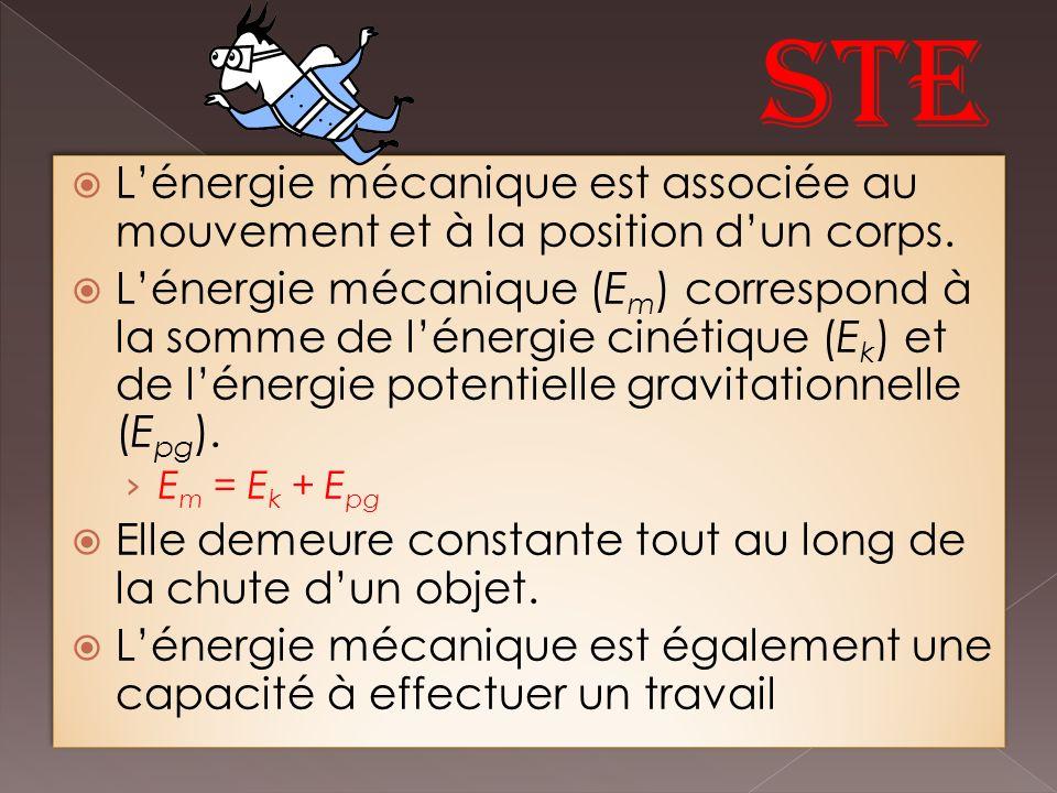 Lénergie mécanique est associée au mouvement et à la position dun corps.