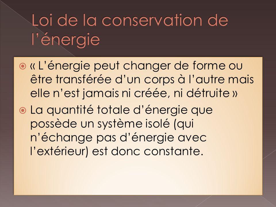 « Lénergie peut changer de forme ou être transférée dun corps à lautre mais elle nest jamais ni créée, ni détruite » La quantité totale dénergie que possède un système isolé (qui néchange pas dénergie avec lextérieur) est donc constante.