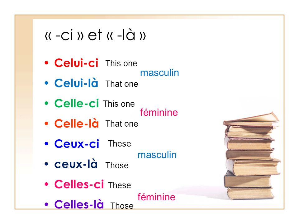 « -ci » et « -là » Celui-ci Celui-là Celle-ci Celle-là Ceux-ci ceux-là Celles-ci Celles-là This one That one This one That one These Those These Those masculin féminine masculin féminine