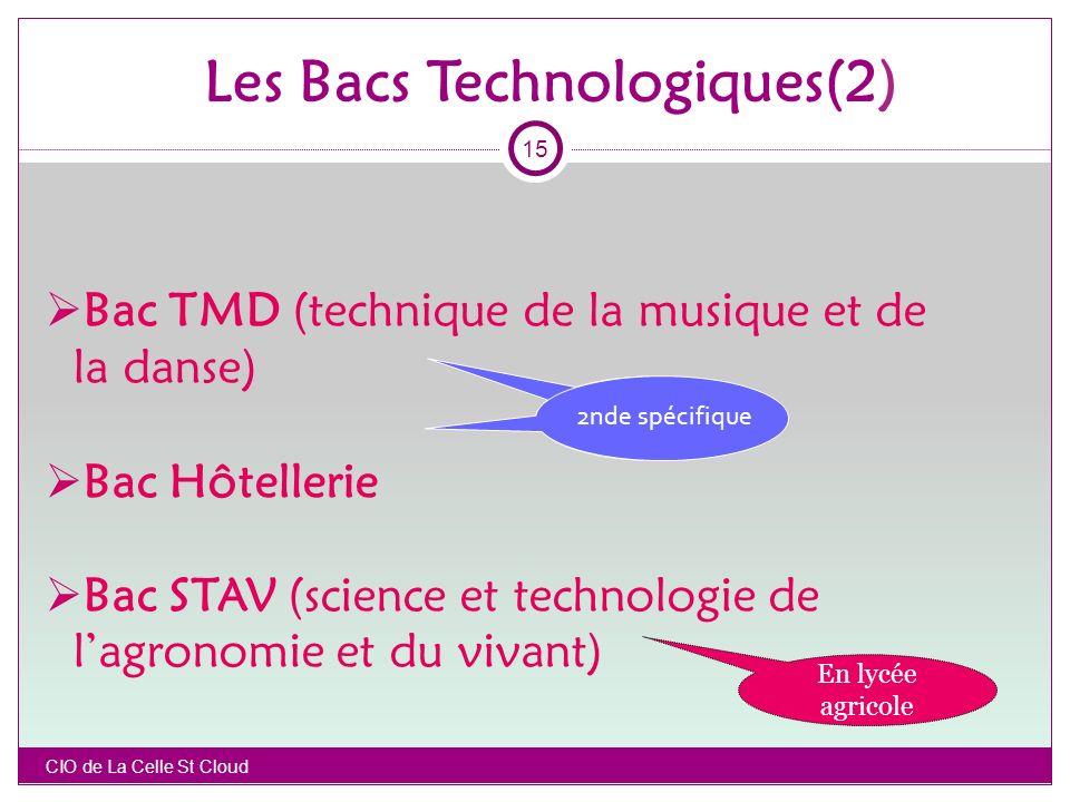 Bac TMD (technique de la musique et de la danse) Bac Hôtellerie Bac STAV (science et technologie de lagronomie et du vivant) 2nde sp é cifique CIO de La Celle St Cloud En lycée agricole Les Bacs Technologiques(2) 15