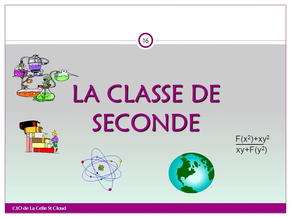 LA CLASSE DE SECONDE CIO de La Celle St Cloud 16 xy+F(y 2 ) F(x 2 )+xy 2