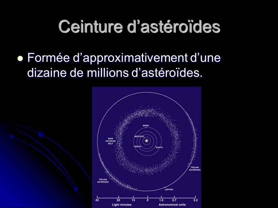 Ceinture dastéroïdes Formée dapproximativement dune dizaine de millions dastéroïdes.