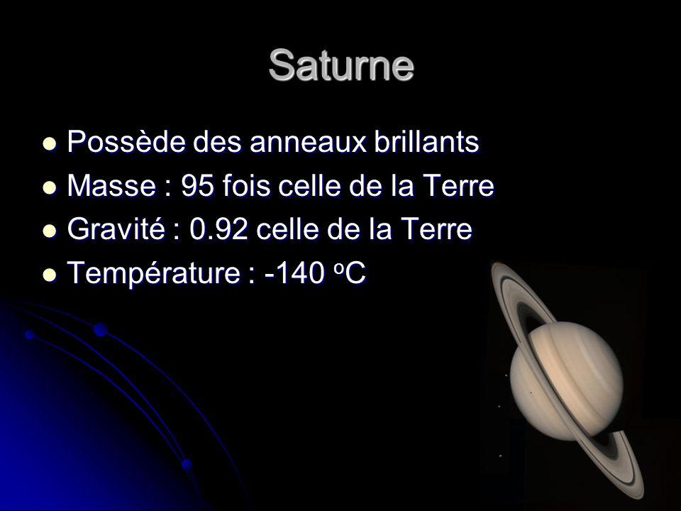 Saturne Possède des anneaux brillants Possède des anneaux brillants Masse : 95 fois celle de la Terre Masse : 95 fois celle de la Terre Gravité : 0.92 celle de la Terre Gravité : 0.92 celle de la Terre Température : -140 o C Température : -140 o C