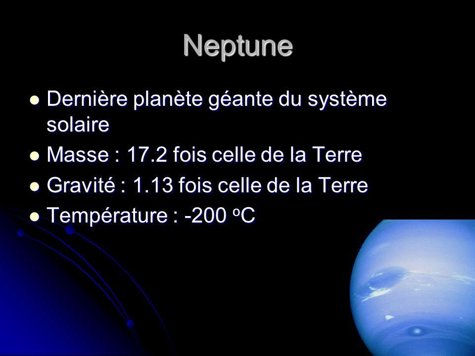 Neptune Dernière planète géante du système solaire Dernière planète géante du système solaire Masse : 17.2 fois celle de la Terre Masse : 17.2 fois celle de la Terre Gravité : 1.13 fois celle de la Terre Gravité : 1.13 fois celle de la Terre Température : -200 o C Température : -200 o C