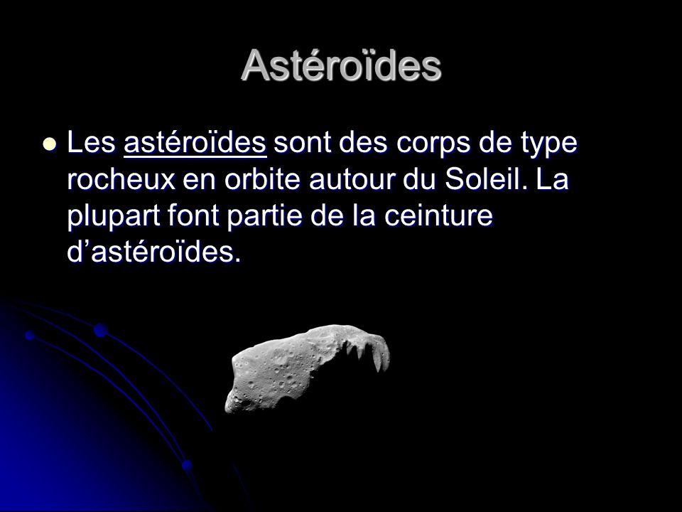 Astéroïdes Les astéroïdes sont des corps de type rocheux en orbite autour du Soleil.