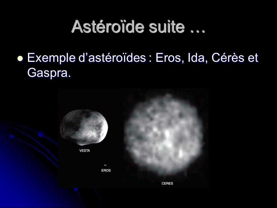 Astéroïde suite … Exemple dastéroïdes : Eros, Ida, Cérès et Gaspra.