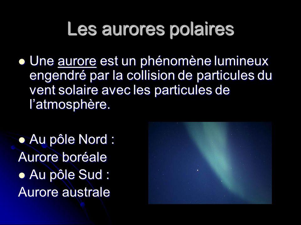 Les aurores polaires Une aurore est un phénomène lumineux engendré par la collision de particules du vent solaire avec les particules de latmosphère.