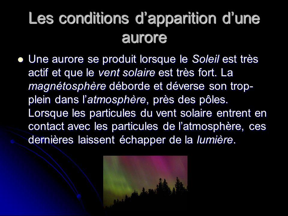 Les conditions dapparition dune aurore Une aurore se produit lorsque le Soleil est très actif et que le vent solaire est très fort.