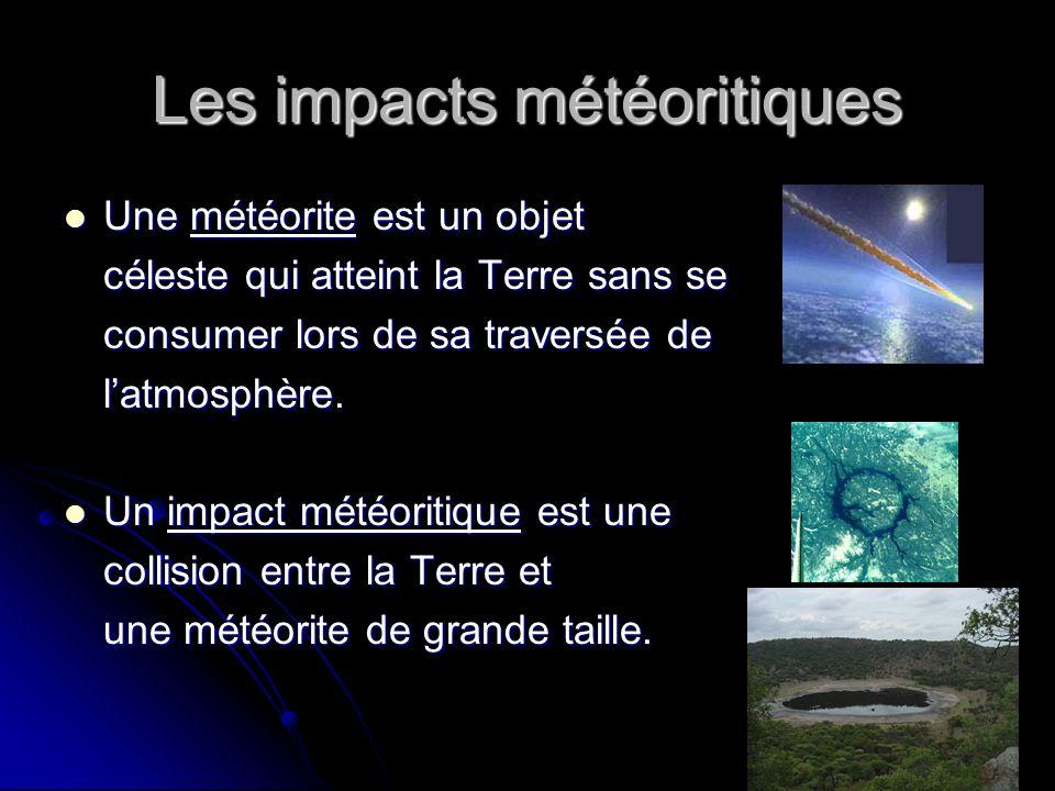 Les impacts météoritiques Une météorite est un objet Une météorite est un objet céleste qui atteint la Terre sans se consumer lors de sa traversée de latmosphère.