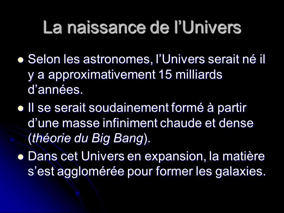 La naissance de lUnivers Selon les astronomes, lUnivers serait né il y a approximativement 15 milliards dannées.