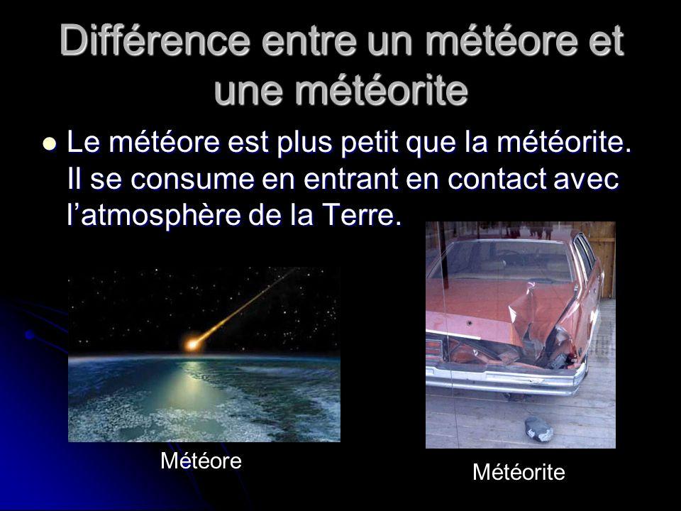 Différence entre un météore et une météorite Le météore est plus petit que la météorite.