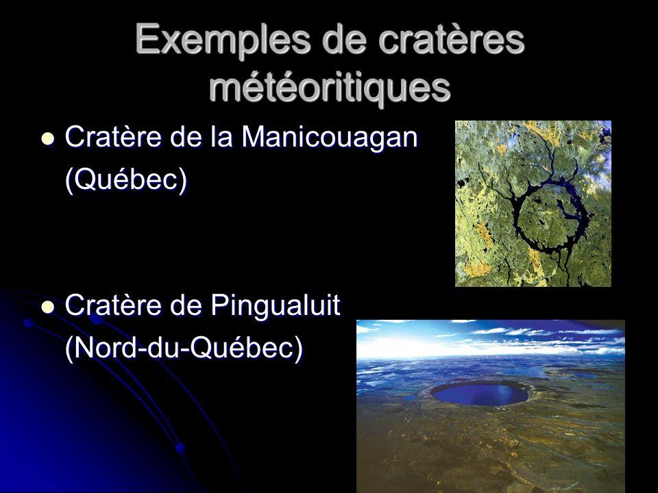 Exemples de cratères météoritiques Cratère de la Manicouagan Cratère de la Manicouagan(Québec) Cratère de Pingualuit Cratère de Pingualuit(Nord-du-Québec)