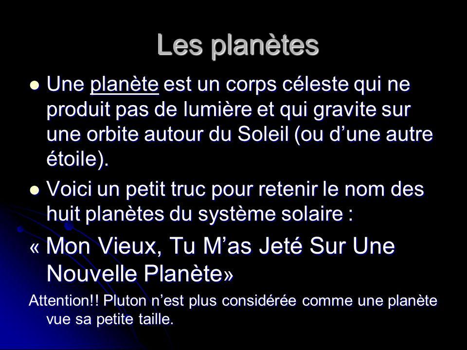 Les planètes Les planètes Une planète est un corps céleste qui ne produit pas de lumière et qui gravite sur une orbite autour du Soleil (ou dune autre étoile).