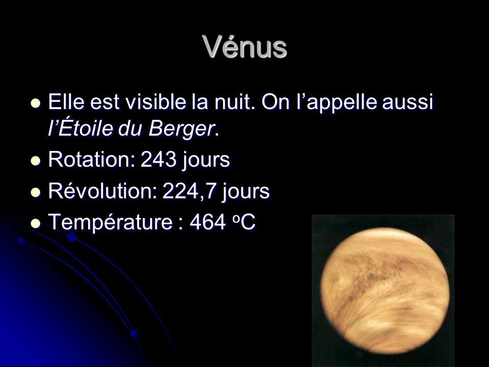Vénus Elle est visible la nuit.On lappelle aussi lÉtoile du Berger.