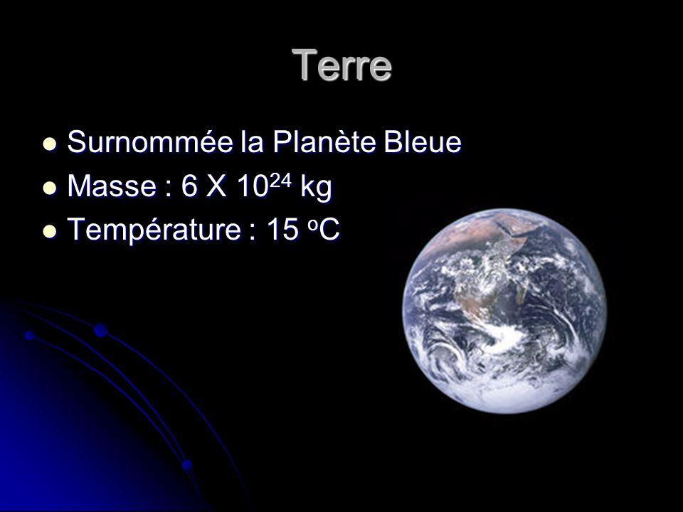 Terre Surnommée la Planète Bleue Surnommée la Planète Bleue Masse : 6 X 10 24 kg Masse : 6 X 10 24 kg Température : 15 o C Température : 15 o C