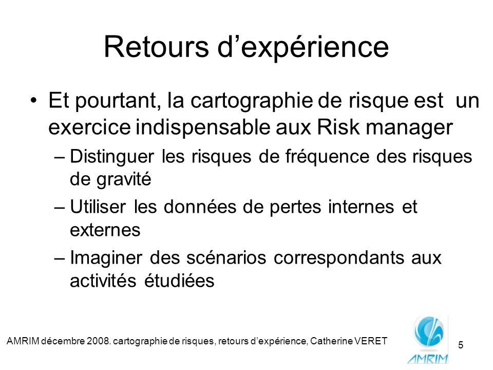 AMRIM décembre 2008. cartographie de risques, retours dexpérience, Catherine VERET 5 Retours dexpérience Et pourtant, la cartographie de risque est un