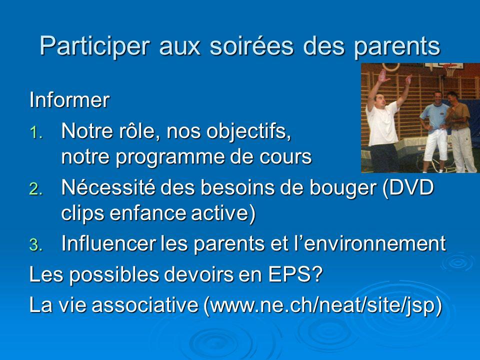 Participer aux soirées des parents Informer 1. Notre rôle, nos objectifs, notre programme de cours 2. Nécessité des besoins de bouger (DVD clips enfan