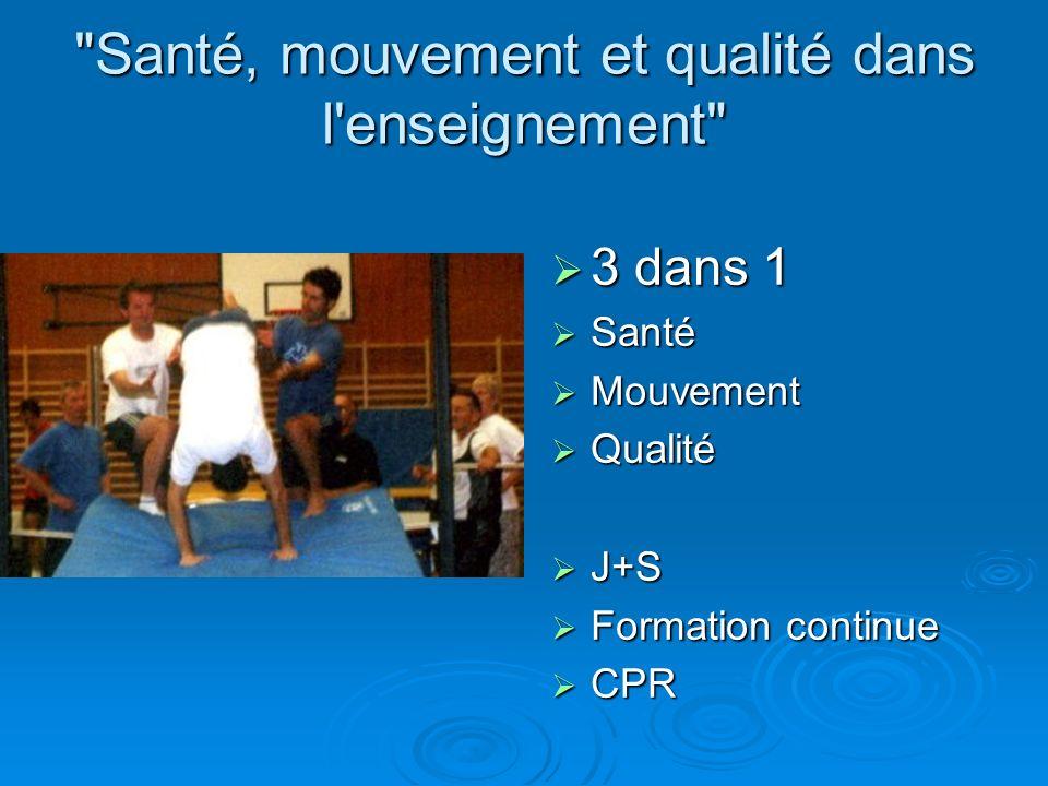 Santé, mouvement et qualité dans l enseignement 3 dans 1 3 dans 1 Santé Santé Mouvement Mouvement Qualité Qualité J+S J+S Formation continue Formation continue CPR CPR