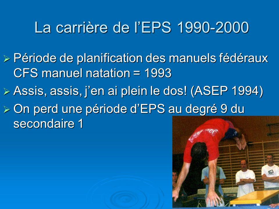 La carrière de lEPS 1990-2000 La carrière de lEPS 1990-2000 Période de planification des manuels fédéraux CFS manuel natation = 1993 Période de planif
