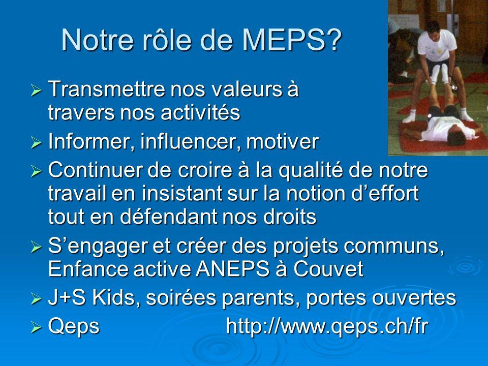 Notre rôle de MEPS? Transmettre nos valeurs à travers nos activités Transmettre nos valeurs à travers nos activités Informer, influencer, motiver Info