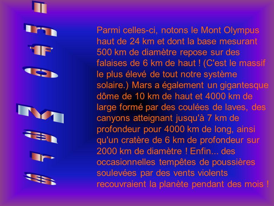 Parmi celles-ci, notons le Mont Olympus haut de 24 km et dont la base mesurant 500 km de diamètre repose sur des falaises de 6 km de haut ! (C'est le