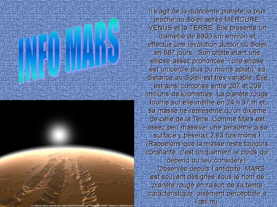 Il sagit de la quatrième planète la plus proche du Soleil après MERCURE, VENUS et la TERRE. Elle présente un diamètre de 6800 km environ et effectue u