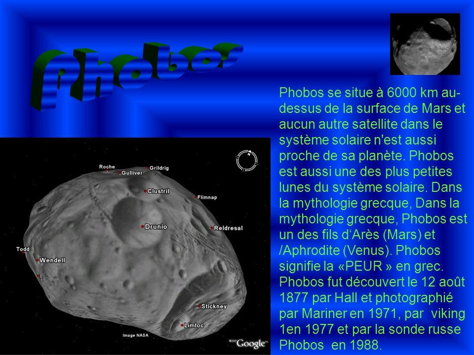 Phobos se situe à 6000 km au- dessus de la surface de Mars et aucun autre satellite dans le système solaire n'est aussi proche de sa planète. Phobos e