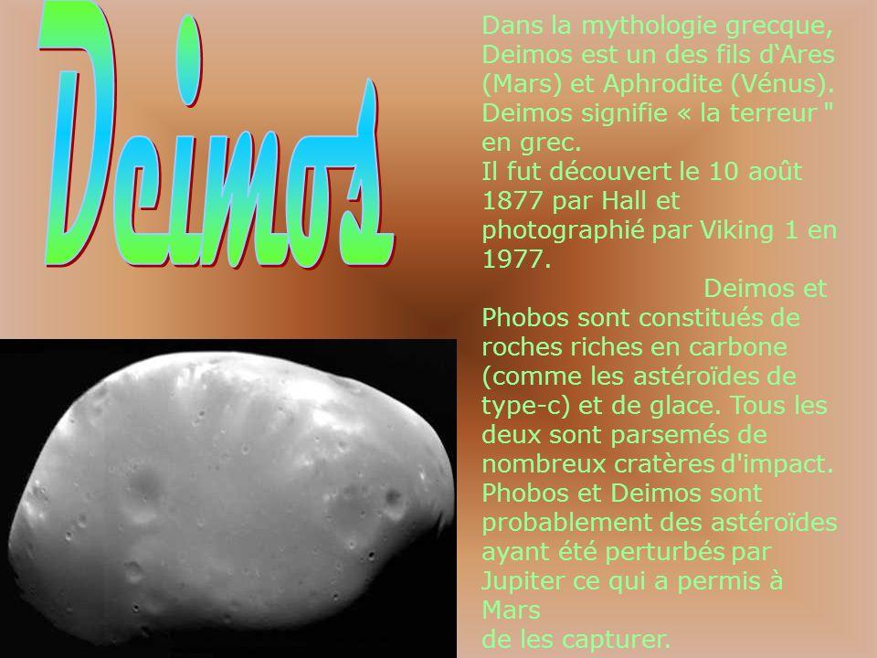Dans la mythologie grecque, Deimos est un des fils dAres (Mars) et Aphrodite (Vénus). Deimos signifie « la terreur
