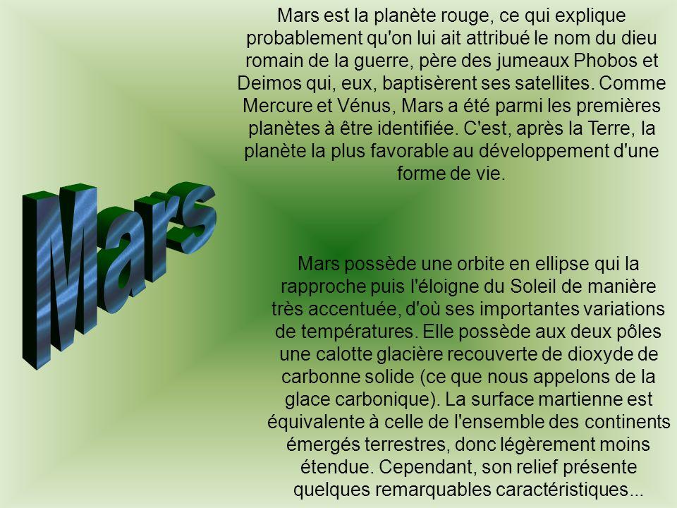 Mars est la planète rouge, ce qui explique probablement qu'on lui ait attribué le nom du dieu romain de la guerre, père des jumeaux Phobos et Deimos q