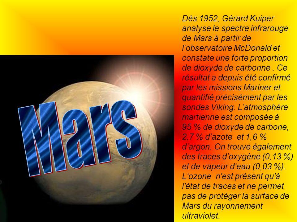 Dès 1952, Gérard Kuiper analyse le spectre infrarouge de Mars à partir de lobservatoire McDonald et constate une forte proportion de dioxyde de carbon