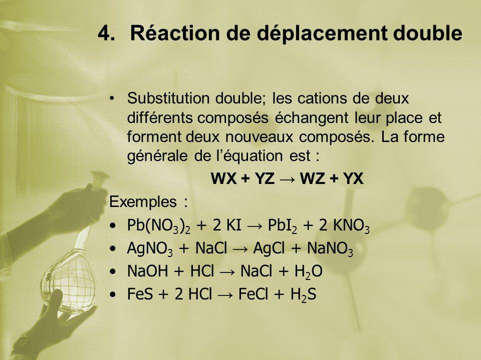 4.Réaction de déplacement double Substitution double; les cations de deux différents composés échangent leur place et forment deux nouveaux composés.