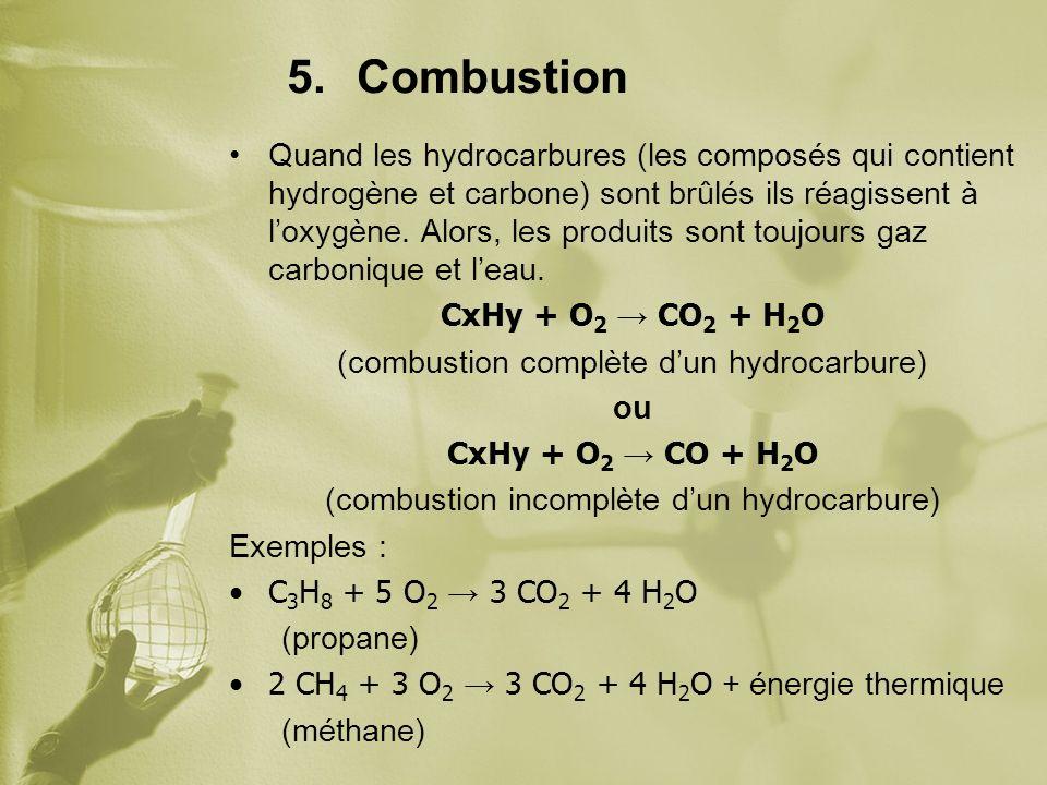 5.Combustion Quand les hydrocarbures (les composés qui contient hydrogène et carbone) sont brûlés ils réagissent à loxygène. Alors, les produits sont