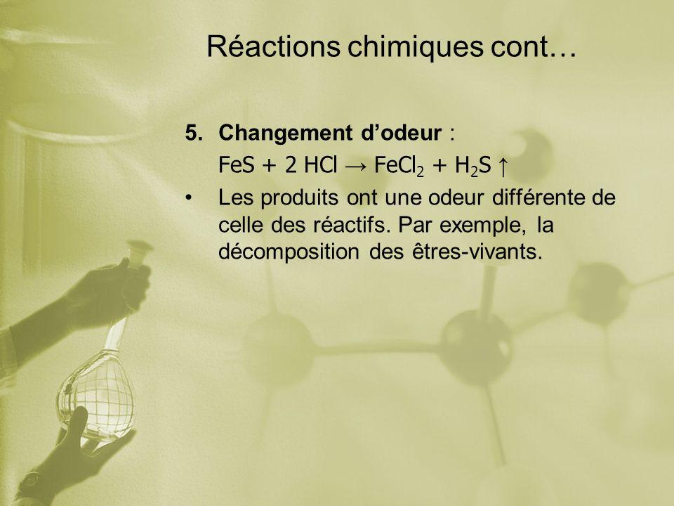 Réactions chimiques cont… 5.Changement dodeur : FeS + 2 HCl FeCl 2 + H 2 S Les produits ont une odeur différente de celle des réactifs. Par exemple, l