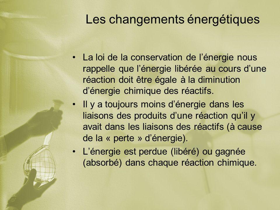 Les changements énergétiques La loi de la conservation de lénergie nous rappelle que lénergie libérée au cours dune réaction doit être égale à la diminution dénergie chimique des réactifs.