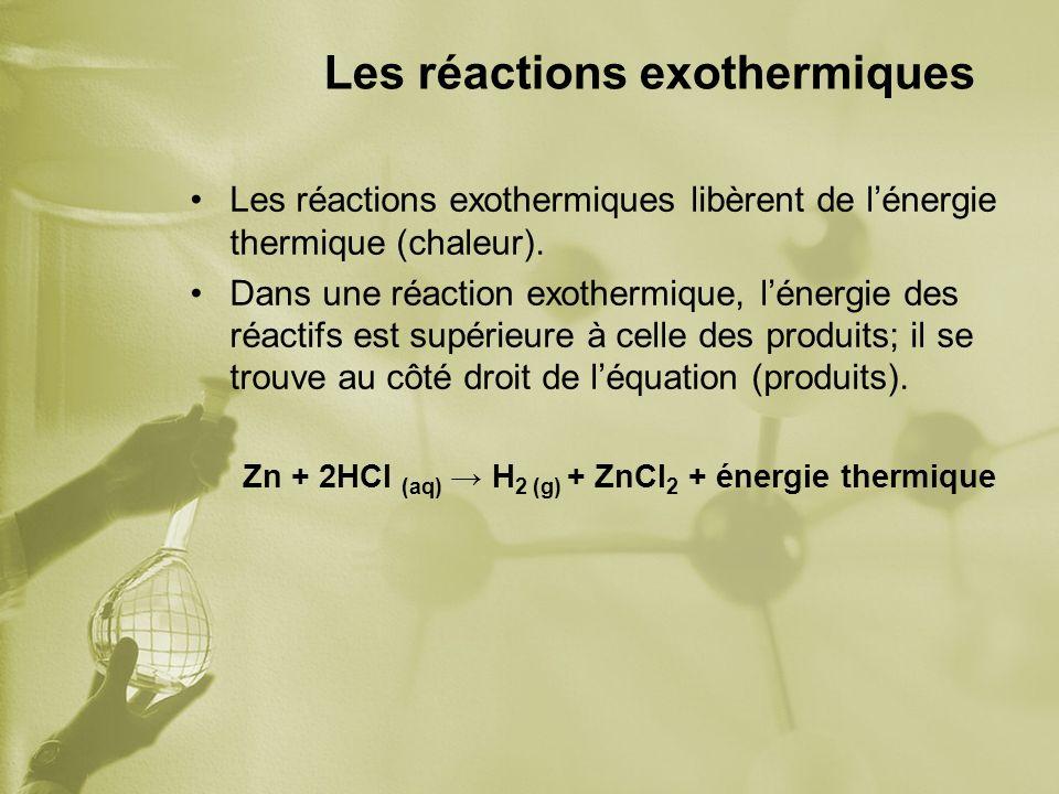 Les réactions exothermiques Les réactions exothermiques libèrent de lénergie thermique (chaleur). Dans une réaction exothermique, lénergie des réactif