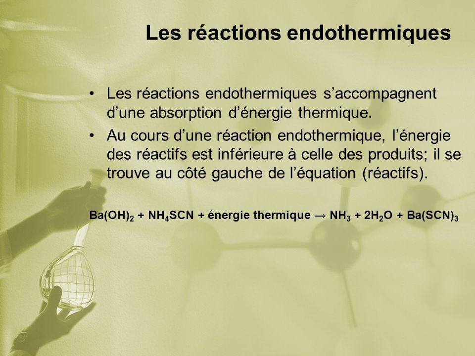 Les réactions endothermiques Les réactions endothermiques saccompagnent dune absorption dénergie thermique. Au cours dune réaction endothermique, léne