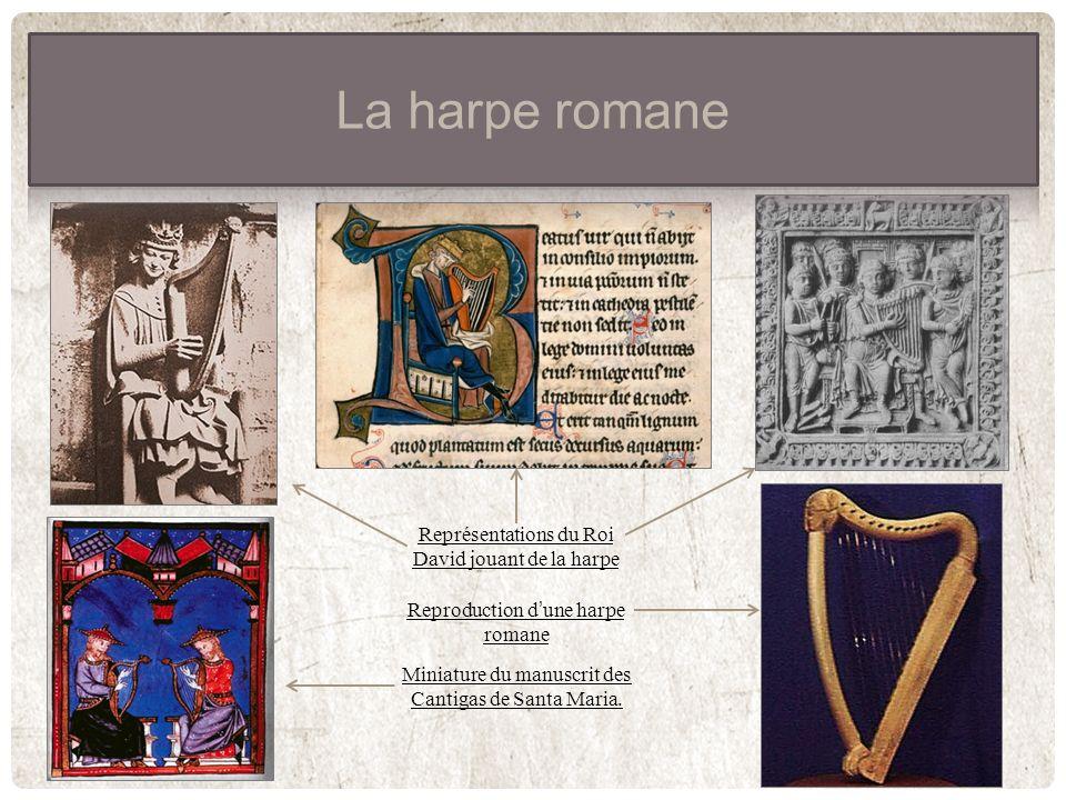Miniature du manuscrit des Cantigas de Santa Maria. Reproduction dune harpe romane Représentations du Roi David jouant de la harpe