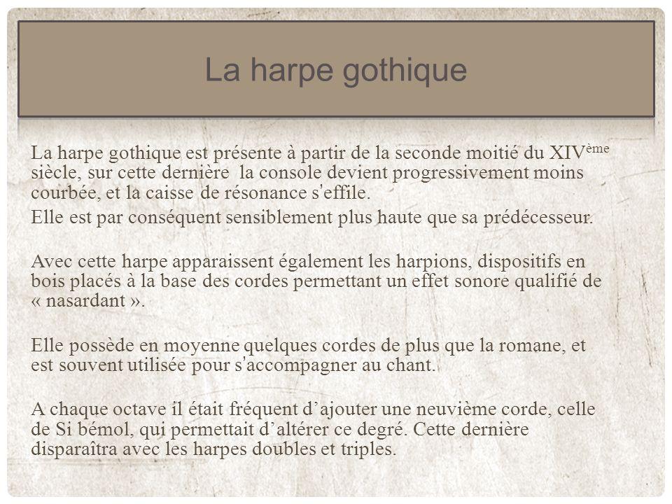 Détail du système de harpions Harpe gothique de luthier