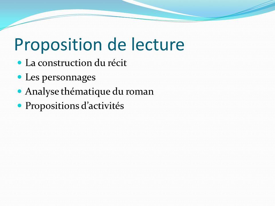 Proposition de lecture La construction du récit Les personnages Analyse thématique du roman Propositions dactivités