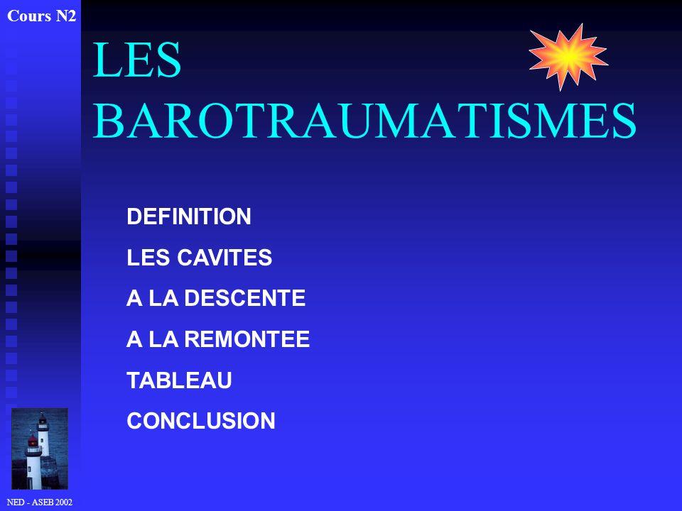NED - ASEB 2002 LES BAROTRAUMATISMES Cours N2 DEFINITION LES CAVITES A LA DESCENTE A LA REMONTEE TABLEAU CONCLUSION