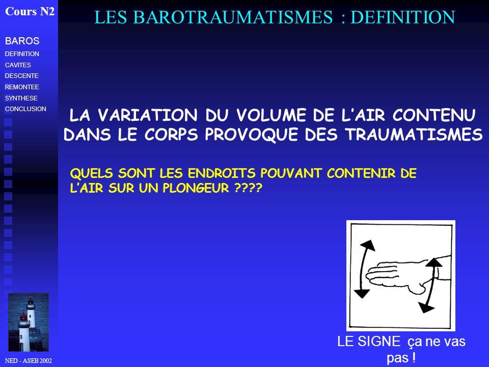 NED - ASEB 2002 LES BAROTRAUMATISMES : DEFINITION Cours N2 BAROS DEFINITION CAVITES DESCENTE REMONTEE SYNTHESE CONCLUSION LE SIGNE ça ne vas pas ! LA