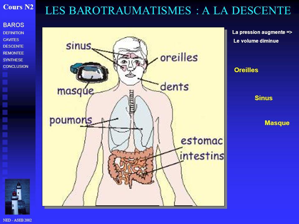 NED - ASEB 2002 LES BAROTRAUMATISMES : A LA DESCENTE Cours N2 La pression augmente => Le volume diminue Oreilles Sinus Masque BAROS DEFINITION CAVITES