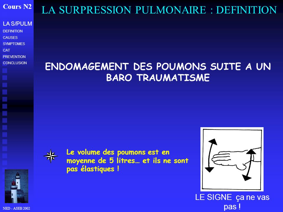 NED - ASEB 2002 LA SURPRESSION PULMONAIRE : DEFINITION Cours N2 LA S/PULM DEFINITION CAUSES SYMPTOMES CAT PREVENTION CONCLUSION LE SIGNE ça ne vas pas
