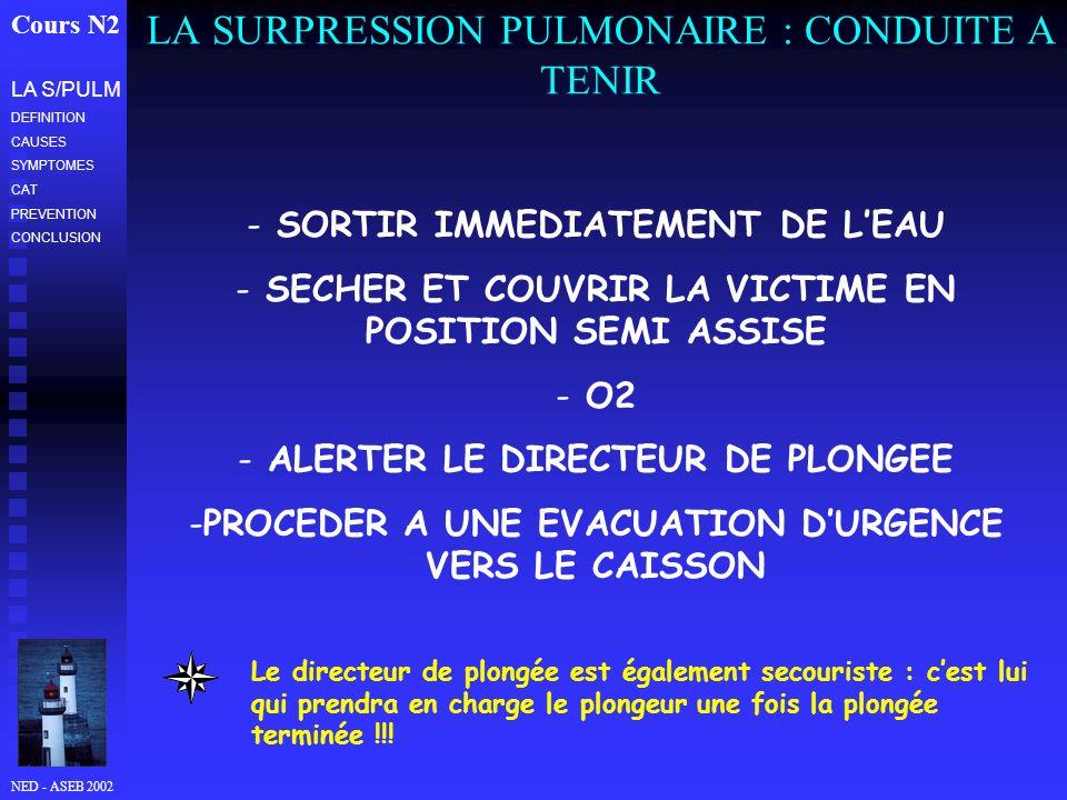 NED - ASEB 2002 LA SURPRESSION PULMONAIRE : CONDUITE A TENIR Cours N2 LA S/PULM DEFINITION CAUSES SYMPTOMES CAT PREVENTION CONCLUSION - SORTIR IMMEDIATEMENT DE LEAU - SECHER ET COUVRIR LA VICTIME EN POSITION SEMI ASSISE - O2 - ALERTER LE DIRECTEUR DE PLONGEE -PROCEDER A UNE EVACUATION DURGENCE VERS LE CAISSON Le directeur de plongée est également secouriste : cest lui qui prendra en charge le plongeur une fois la plongée terminée !!!